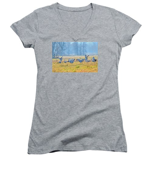 Women's V-Neck T-Shirt (Junior Cut) featuring the photograph Saturday Night by Tony Beck