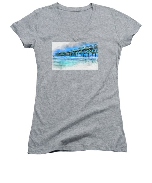 Sea Blue - Cherry Grove Pier Women's V-Neck
