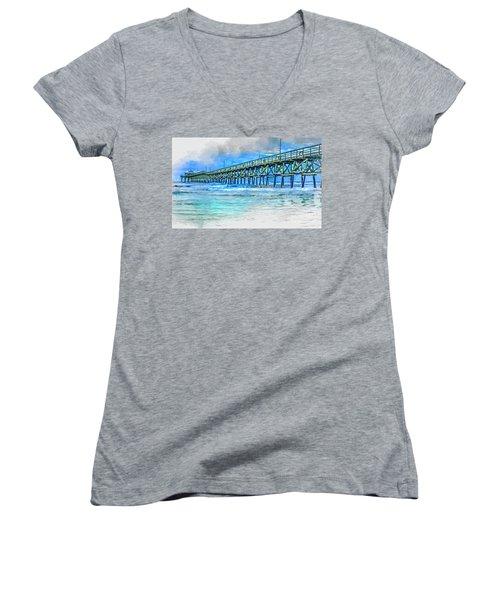 Sea Blue - Cherry Grove Pier Women's V-Neck (Athletic Fit)