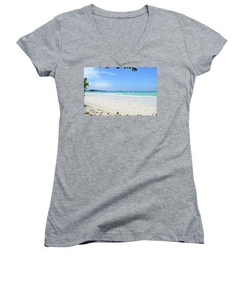 Women's V-Neck T-Shirt (Junior Cut) featuring the digital art Seychelles Islands 2 by Eva Kaufman