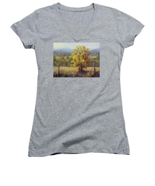 Shades Of Autumn Women's V-Neck T-Shirt (Junior Cut) by Karen Ilari