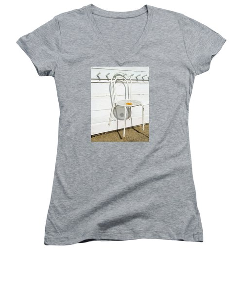 Shadows Of Suspended White Chair And Autumn Leaf Women's V-Neck T-Shirt (Junior Cut) by Gary Slawsky