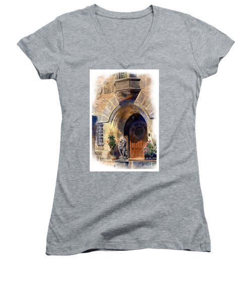 Women's V-Neck featuring the painting Shaker Heights by Andrew King