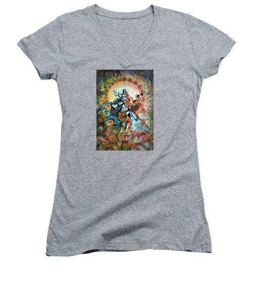 Shiva Shakti Women's V-Neck T-Shirt (Junior Cut) by Harsh Malik