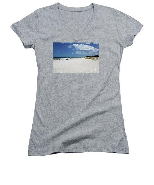 Women's V-Neck T-Shirt featuring the photograph Siesta Key Beach by Gary Wonning