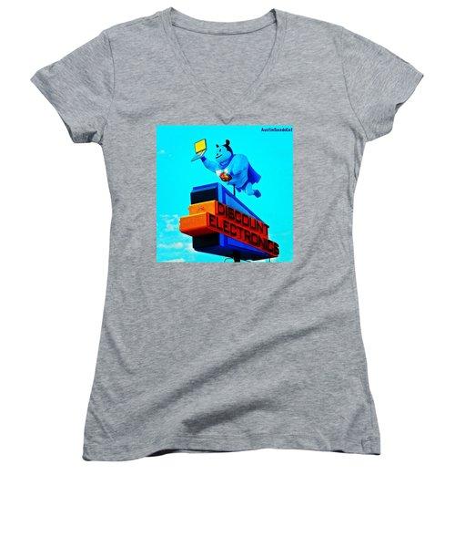 #sign #weirdness In #myhometown Women's V-Neck T-Shirt