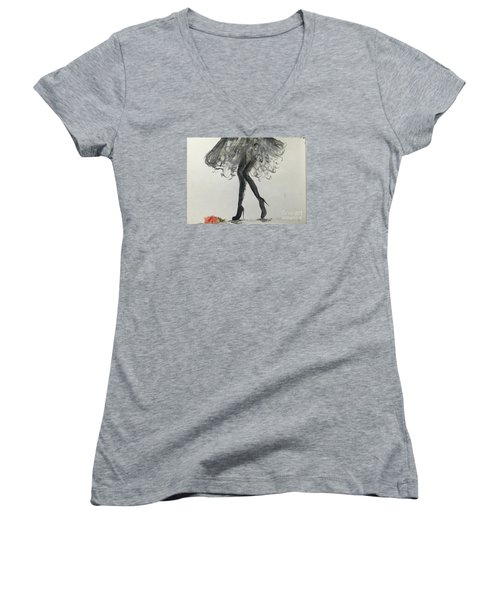 Women's V-Neck T-Shirt (Junior Cut) featuring the painting Signature by Trilby Cole