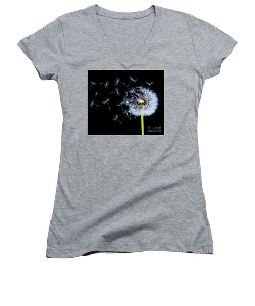 Silhouettes Of Dandelions Women's V-Neck T-Shirt (Junior Cut) by Bess Hamiti