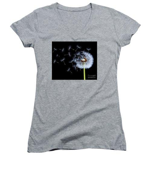 Silhouettes Of Dandelions Women's V-Neck T-Shirt