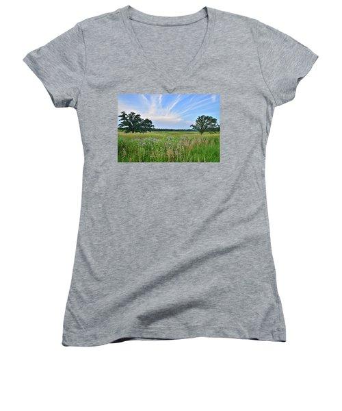 Silver Creek Conservation Area Sunset Women's V-Neck T-Shirt