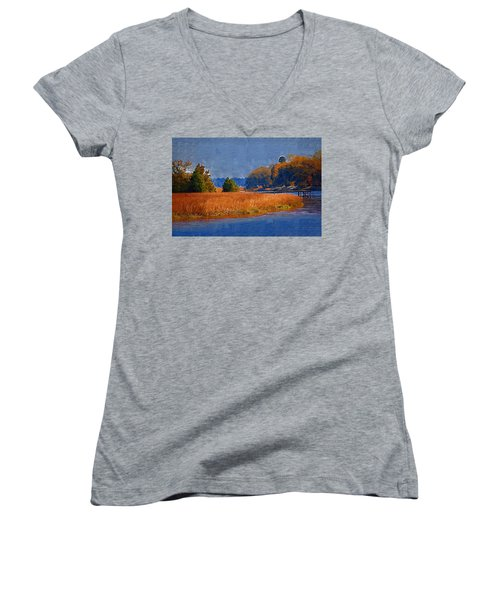 Sitting On The Dock Women's V-Neck T-Shirt (Junior Cut) by Donna Bentley