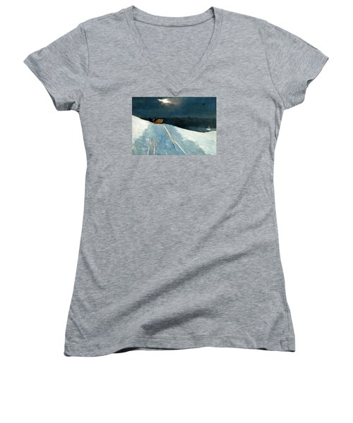 Women's V-Neck T-Shirt (Junior Cut) featuring the painting Sleigh Ride by Winslow Homer