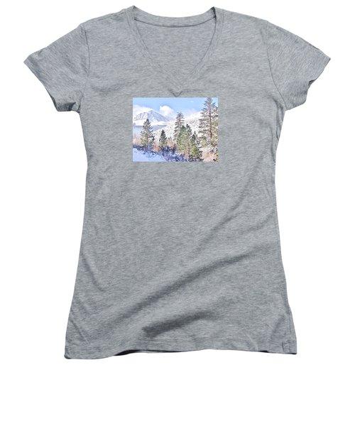 Canyon Snow Women's V-Neck T-Shirt (Junior Cut) by Marilyn Diaz