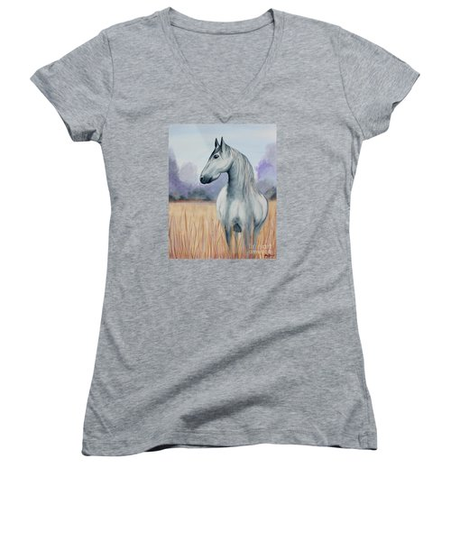 Women's V-Neck T-Shirt (Junior Cut) featuring the painting Solemn Spirit by Stacey Zimmerman