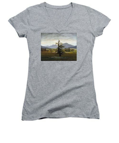 Solitary Tree Women's V-Neck (Athletic Fit)