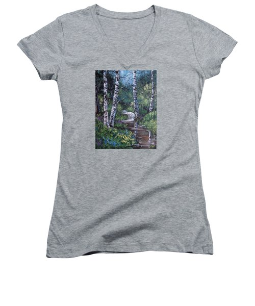 Solitude Women's V-Neck T-Shirt (Junior Cut) by Megan Walsh