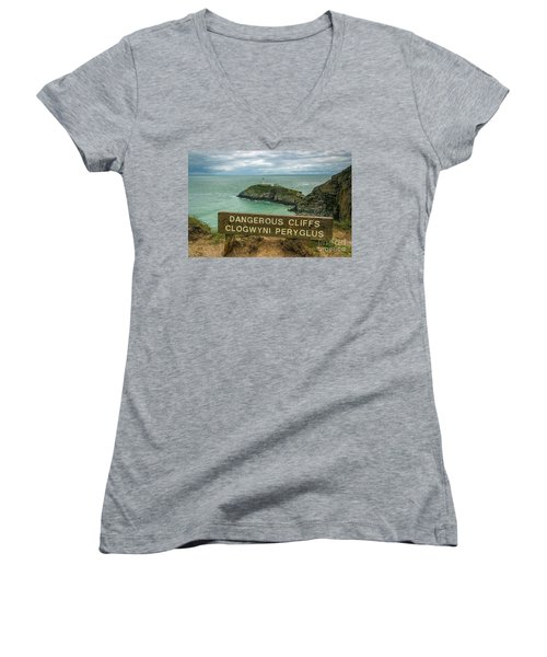 South Stack Lighthouse Women's V-Neck T-Shirt (Junior Cut) by Ian Mitchell