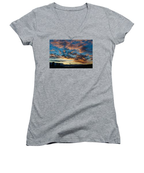 Space Needle In Clouds Women's V-Neck T-Shirt (Junior Cut) by Suzanne Lorenz