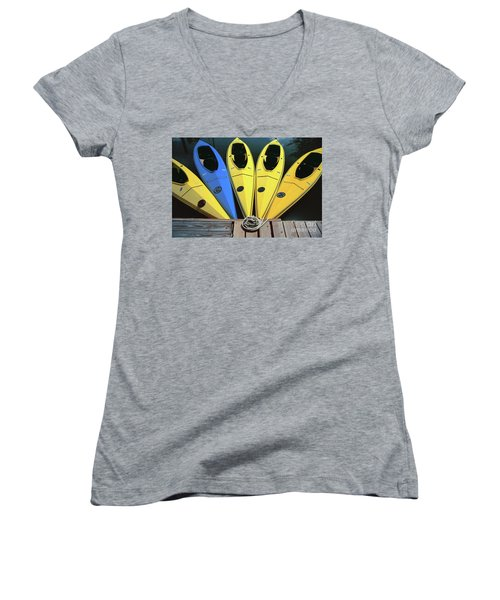 sports boat photography - Yellow Kayaks Women's V-Neck (Athletic Fit)
