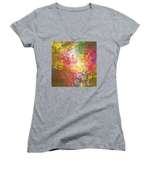 Women's V-Neck T-Shirt (Junior Cut) featuring the digital art Spring Thoughts by Trilby Cole