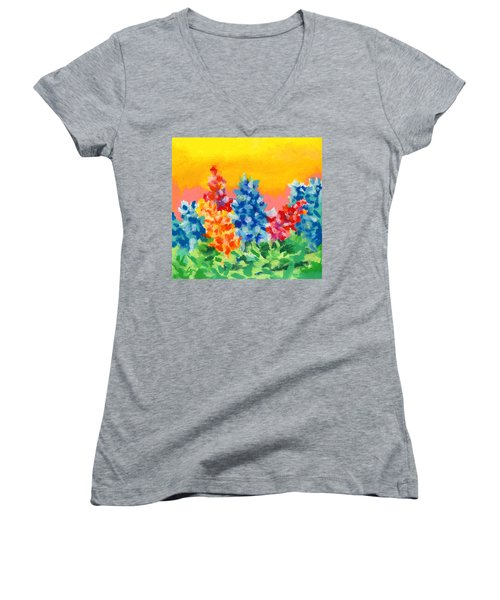 Women's V-Neck T-Shirt (Junior Cut) featuring the painting Spring Wildflowers by Stephen Anderson
