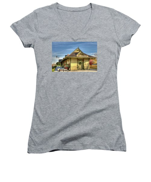St. Charles Depot Women's V-Neck T-Shirt (Junior Cut) by Steve Stuller