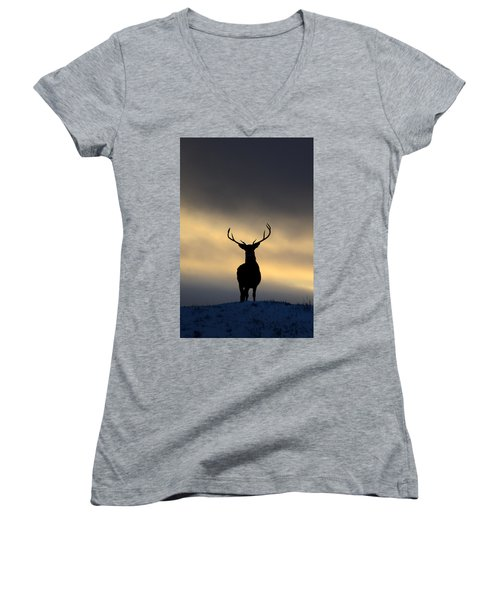 Stag Silhouette  Women's V-Neck (Athletic Fit)
