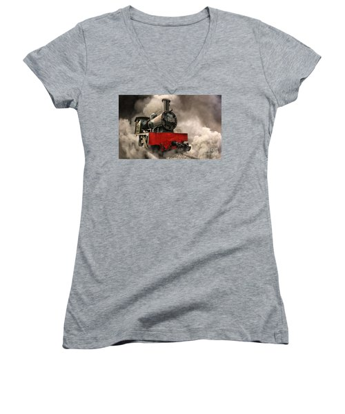 Women's V-Neck T-Shirt (Junior Cut) featuring the photograph Steam Engine by Charuhas Images