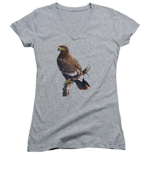 Steppe-eagle Women's V-Neck T-Shirt (Junior Cut) by Anthony Mwangi