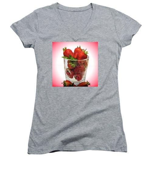 Strawberry Dessert Women's V-Neck T-Shirt (Junior Cut)