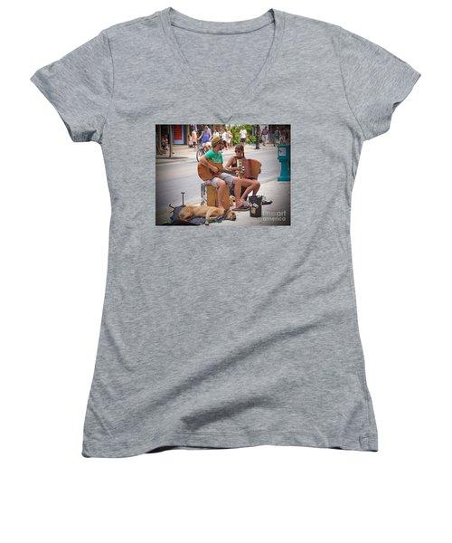 Street Melody Women's V-Neck T-Shirt (Junior Cut) by Judy Kay
