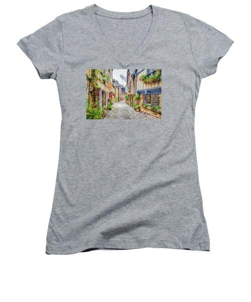 Streets Of Dinan Women's V-Neck T-Shirt (Junior Cut) by JR Photography
