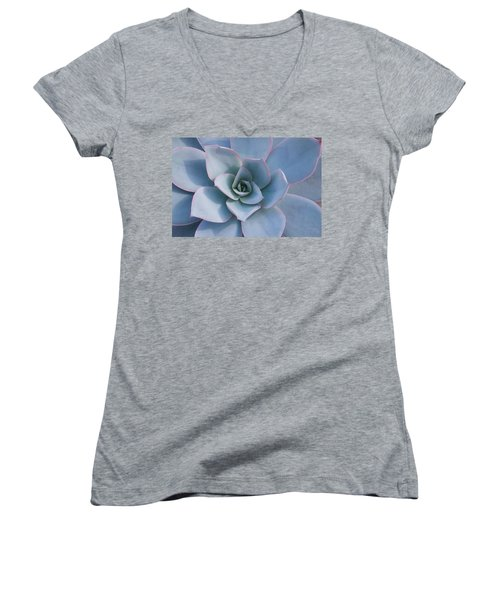 Women's V-Neck T-Shirt (Junior Cut) featuring the photograph Succulent Beauty by Catherine Lau