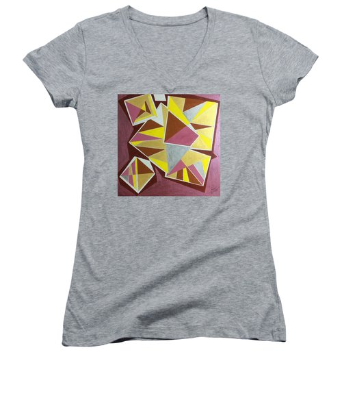 Women's V-Neck T-Shirt (Junior Cut) featuring the painting Summer by Hang Ho