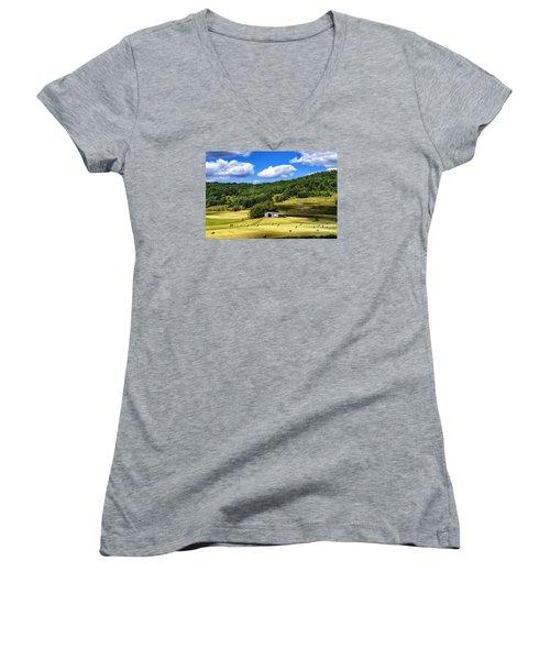 Summer Morning Hay Field Women's V-Neck T-Shirt (Junior Cut) by Thomas R Fletcher