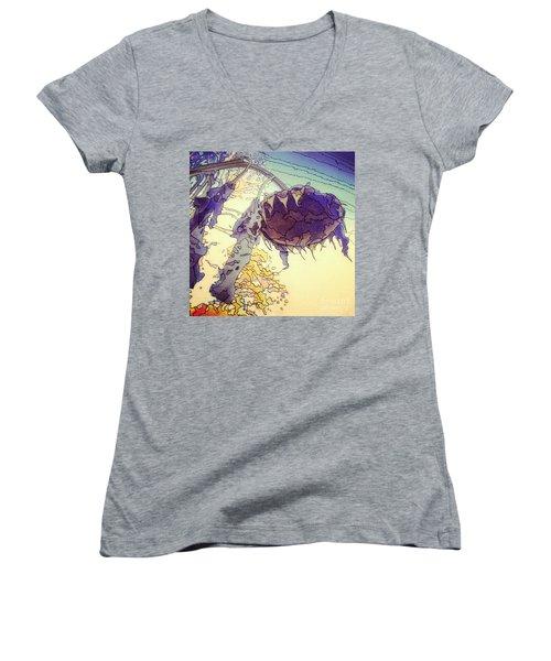 Sunflower Women's V-Neck T-Shirt (Junior Cut) by A K Dayton