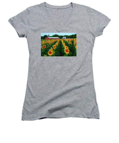 Sunflower Field #4 Women's V-Neck T-Shirt (Junior Cut) by Karen McKenzie McAdoo