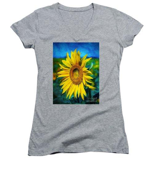 Sunflower Women's V-Neck T-Shirt (Junior Cut) by Ian Mitchell