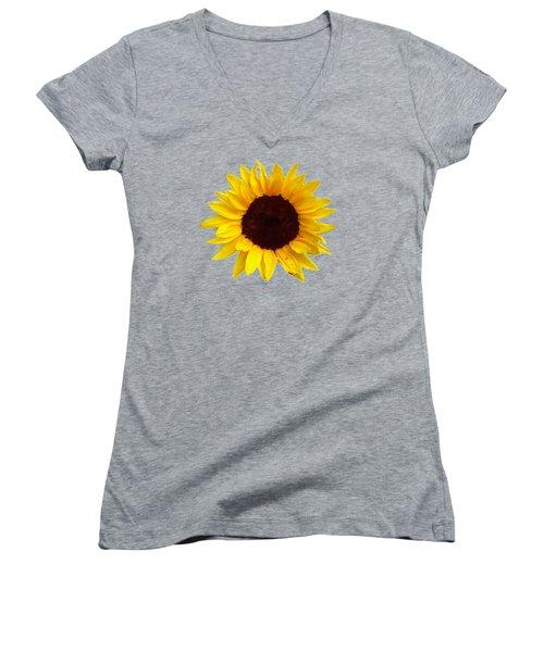 Women's V-Neck T-Shirt (Junior Cut) featuring the photograph Sunflower by Jim Sauchyn