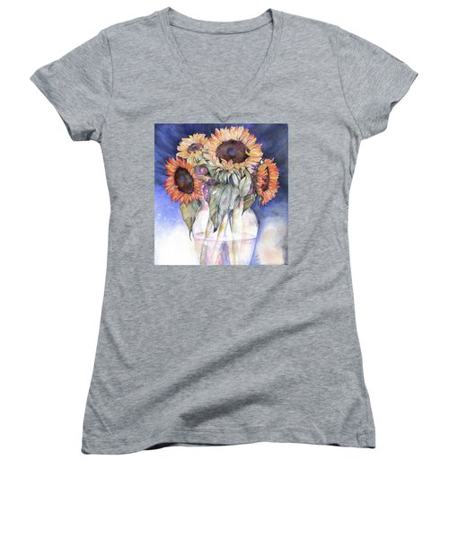 Women's V-Neck T-Shirt (Junior Cut) featuring the painting Sunflowers by Nadine Dennis