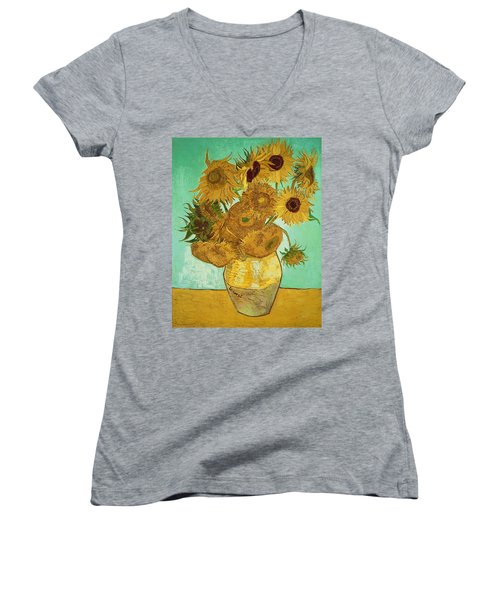 Sunflowers By Van Gogh Women's V-Neck