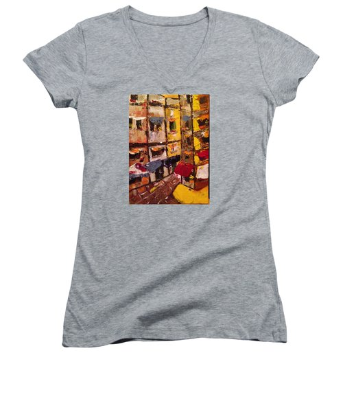 Sunny Side Of The Street Women's V-Neck T-Shirt (Junior Cut) by Roxy Rich