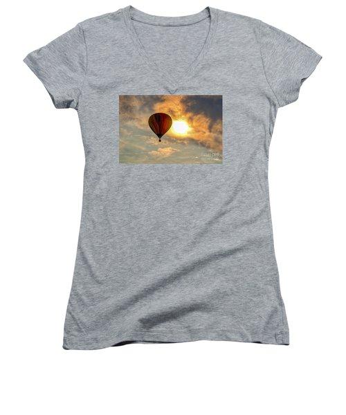 Women's V-Neck T-Shirt (Junior Cut) featuring the photograph Sunrise Flight by Mitch Shindelbower