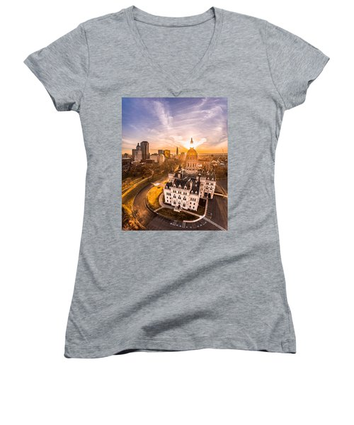 Women's V-Neck T-Shirt (Junior Cut) featuring the photograph Sunrise In Hartford, Connecticut by Petr Hejl