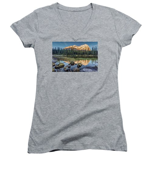 Sunrise In The Rocky Mountains Women's V-Neck T-Shirt (Junior Cut) by Pierre Leclerc Photography