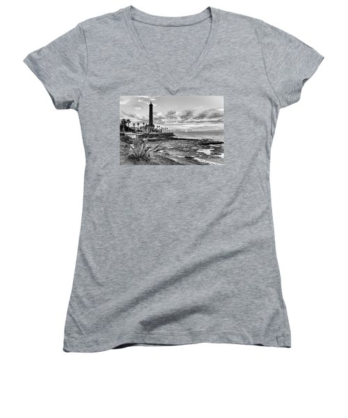 Women's V-Neck T-Shirt featuring the photograph Sunset At Chipiona Lighthouse Cadiz Spain by Pablo Avanzini