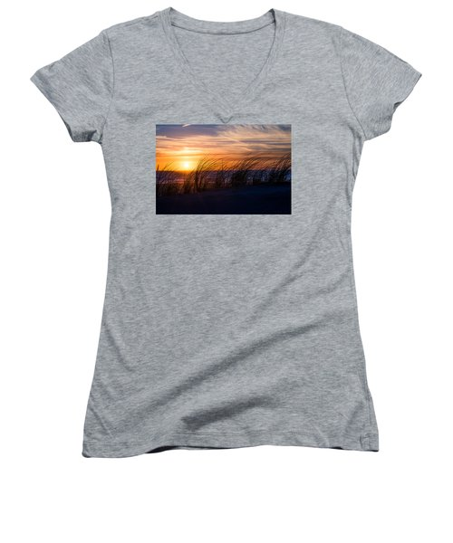 Women's V-Neck T-Shirt (Junior Cut) featuring the photograph sunset at the North Sea by Hannes Cmarits