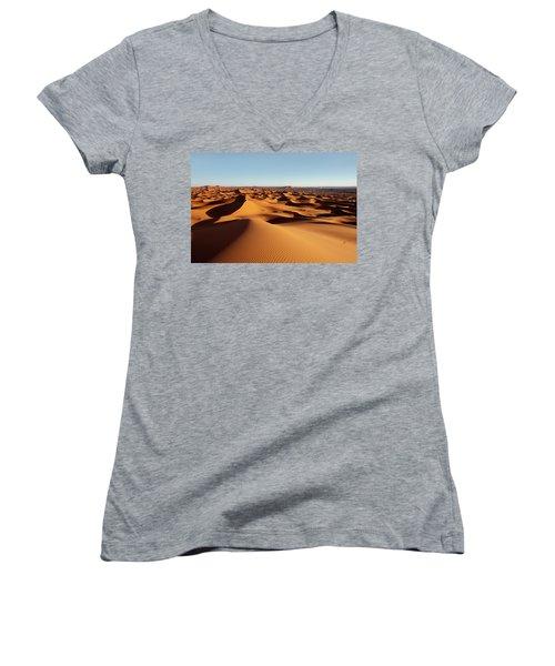 Sunset In Erg Chebbi Women's V-Neck T-Shirt (Junior Cut) by Aivar Mikko