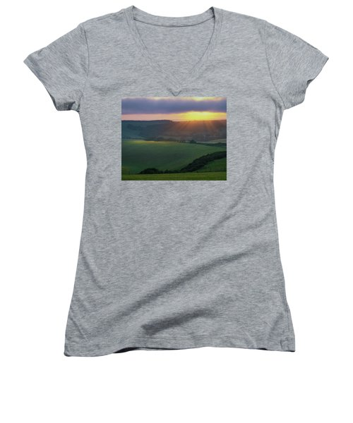 Sunset Over The South Downs Women's V-Neck (Athletic Fit)