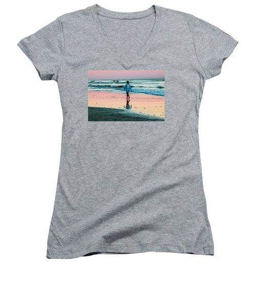 Sunset Stroll In The Surf Hilton Head Women's V-Neck